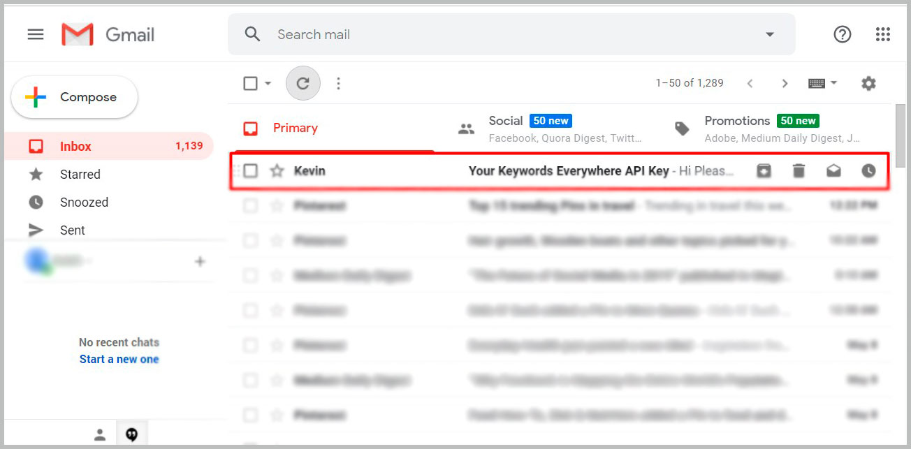 Keywords EveryWhere API Key in Mail