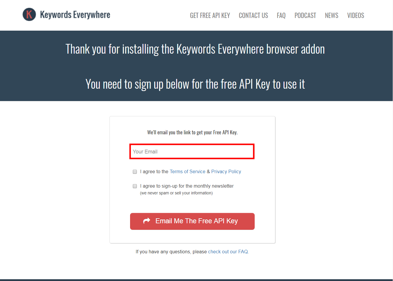 Keywords Everywhere Get API Key