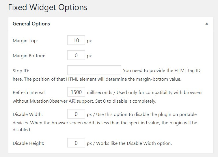 Q2W3 Fixed Widget Setting Page